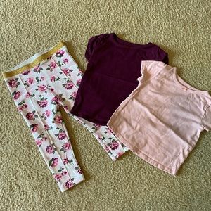 Floral Leggings w 2 matching Tops